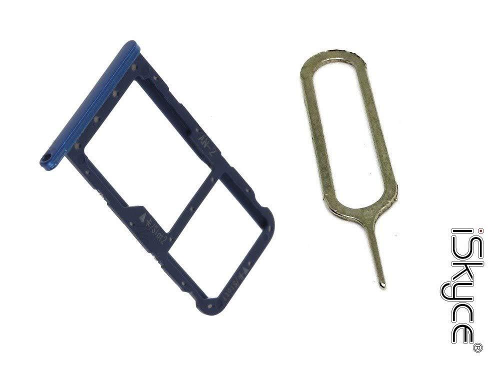 iSkyce 121M5 Tiroir Plateau Double Nano Sim pour Huawei P20 Lite Bleu + clé pin