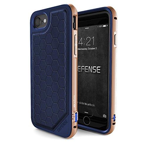 Iphone 7 Caso, X-Doria (Defensa Lux) para el iPhone, Dual Protection iPhone 7 y, de absorción de impactos, de primera calidad protectora del iPhone 7 más la caja de(Fibre de carbone) Bleu & Or