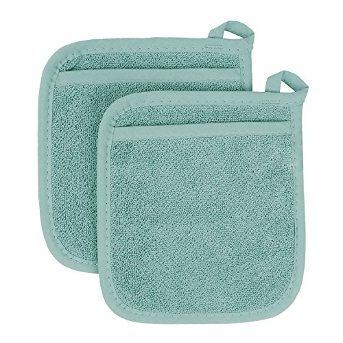 - Ritz Royale Collection 100% Cotton Terry Cloth Pocket Mitt Set, Dual-Function Hot Pad / Pot Holder, 2-Piece, Dew