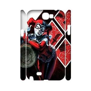 3D Samsung Galaxy Note 2 Case Cute Harley Quinn, Samsung Galaxy Note 2 Case Harley Quinn Protector for Girls, [White]