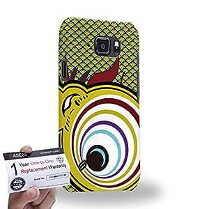 Case88 [Samsung Galaxy S6 Active] 3D impresa Carcasa/Funda dura para & Tarjeta de garantía - Art Drawing Gold Metallic Koinobori Satsuki Nobori
