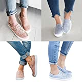 Haoricu Clearance Flat Shoes Women, Women Hollow Out Shoes Round Toe Platform Sandals Flat Heel Slip on Sneakers Ladies Casual Shoes