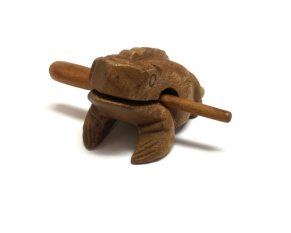 Large Wooden Croaking Frog (Tan) MI-020401