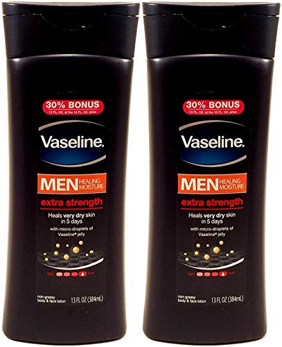 Vaseline Men Healing Moisture Extra Strength Body and Face Lotion, 13 Ounce (Pack of 2)