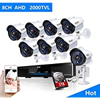 ELEC 8CH 1080N Security Camera System DVR Recorder 8 Pack HD 2000 TVL Outdoor CCTV Cameras with IP66 Weatherproof and Motion Detection with 1TB Surveillance Hard Disk