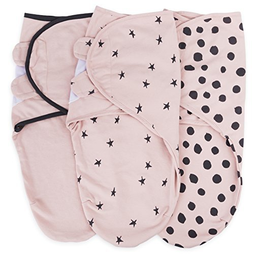 Adjustable Swaddle Blanket Infant Baby Wrap Set 3 Pack by Ely's & Co. (Pink, 3-6 Months)