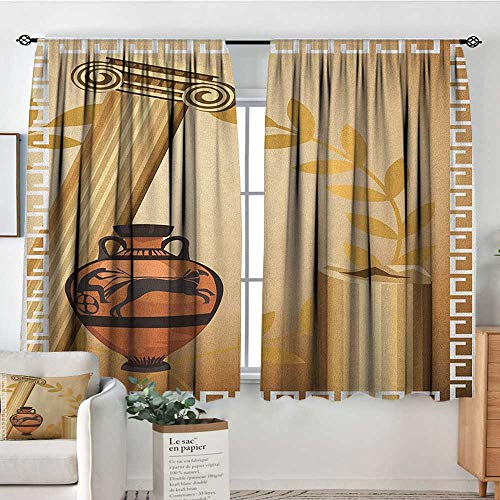 Theresa Dewey Decor Waterproof Curtains Toga Party,Antique Greek Columns Vase Olive Branch Hellenic Heritage Icons, Pale Brown Cinnamon White,Blackout Draperies for Bedroom Living Room 42