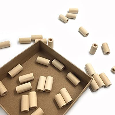 Amyster 50pcs Natural Wooden Teether 20mm10mm(0.79 Inch 0.39 Inch) Wooden Beads Cylinder/Geometry Shaped Unfinished Eco-Friendly Untreated Tube Bead DIY Crafts Toy (50pcs) : Baby