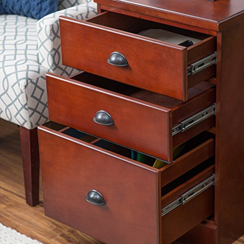 Belham Living Cambridge 3-Drawer Filing Cabinet - Rich Cherry