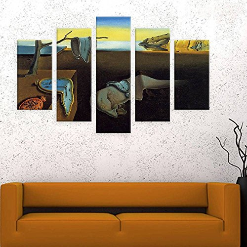 "Alonline Art The Persistence Of Memory Clock Salvador Dali POSTER PRINTS ROLLED (Print on Fine Art PHOTO PAPER) 42""x28"" - 107x71cm 5 Panels split Wall Decor Wall Art Pictures Artwork"
