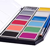 Blue Squid Face Paint for Kids 12 Color Palette | Jumbo Size Sturdy Case | 3 Brushes, Glitter Gel, Stencils | Best Quality Painting Kit | Vibrant Water Based Set Non-Toxic FDA Approved | +Online Guide