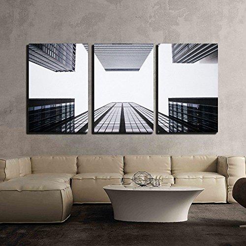 Skyscraper Looking Up at Sky x3 Panels
