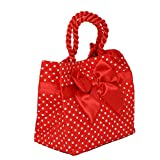 Kuber Industries™ Stylish Quilted Satin Bow Handbag, Perfect Gift for Girls-KI3258