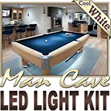 Biltek 16.4' ft Cool White Man Cave Bar Pool Table LED Lighting Strip + Dimmer + Remote + Wall Plug 110V - Sports Memorabilia Bar Theatre TV Liquor Cabinet Wine Cellar Dart Board Waterproof 110V-220V