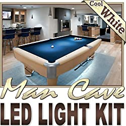 Biltek 16.4' ft Cool White Man Cave Bar Pool Table LED Lighting Strip + Dimmer + Remote + Wall Plug 110V - Sports Memorabilia Bar Theatre TV Liquor Cabinet Wine Cellar Dart Board Waterproof 220V