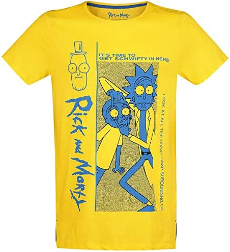 T Shirt Crazy Crap Get Schwifty Logo 新しい 公式 メンズ イエロー