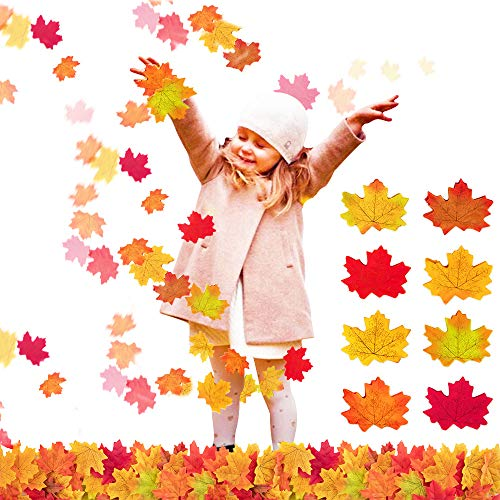 eKeRi Wedding 800 Pieces Artificial Autumn Maple Leaves, Assorted 8 Colors for Halloween,Birthday,Baby & Bridal Shower - Event,Fall Weddings & Autumn Parties Decoration(One Size) -