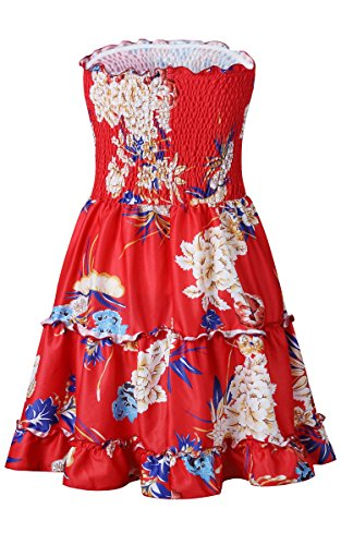 Pleated Red Mini Dress Flowy Women's Floral Strapless Angashion Skater Tube txwAnqHCz