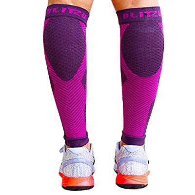BLITZU Calf Compression Sleeve Socks One Pair Leg Performance Support Shin Splint & Calf Pain Relief. Men Women Runners Guards Sleeves Running. Improves Circulation Recovery