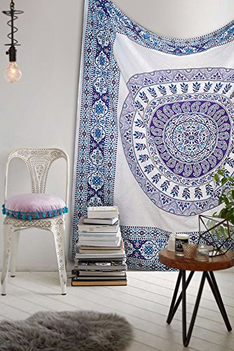 Popular tapestry large White Hippie Mandala Bohemian Paisly Psychedelic Intricate Floral Design Indian Bedspread Magical Thinking Tapestry 90x84 Inches,(230x215cms) Blue By Popular Handicrafts - Popular White Flowers