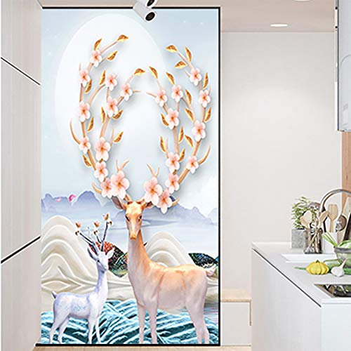 ChezMax Decorative Privacy Window Film No Glue Frosted Glass Film Static Cling Glass Window Sticker Self Adhesive Glass Sticker Elks- 27.6