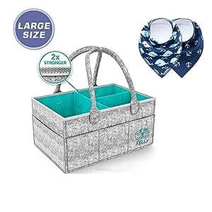 Pañales Organizador, Felly Cesta de almacenamiento para Pañales de Bebé Además trae dos Baberos, cesta de regalo para recién nacido, Multi ...