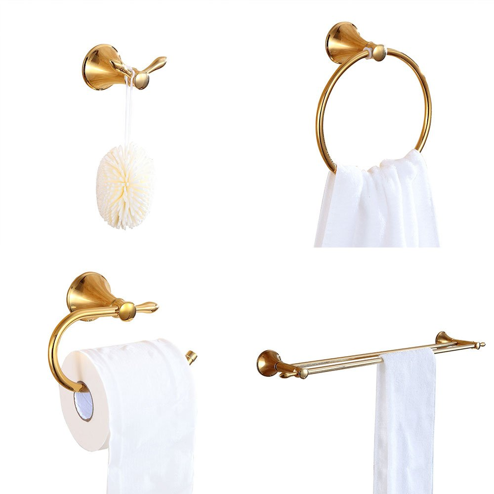 Sumin Home SET325C 4 Piece Bathroom Hardware Accessory Set(Double Towel Bar, Towel Ring, Toilet Paper Holder without Cover, Robe Hook), Gold by Sumin Home
