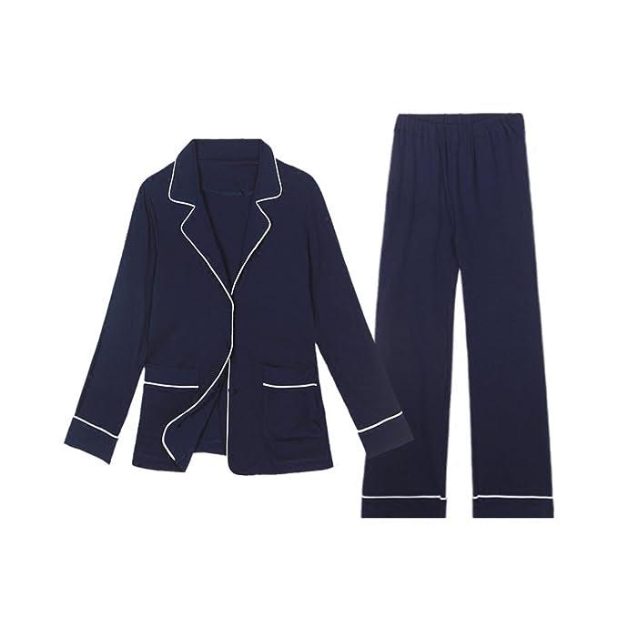 SQINAA Conjunto de pijama de los hombres,Manga larga ropa de dormir de algodón botón
