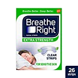 Health & Personal Care : Breathe Right Extra Strength Nose Strips to Reduce Snoring and Relieve Nose Congestion, Drug-Free, Pack of 26 Clear Nasal Strips for Sensitive Skin