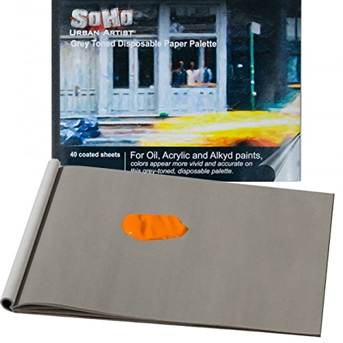 SoHo Urban Artist Paint Paper Palette Pad Specially Coated Heavy Duty Grey Toned Disposable Palette Paper [40 Sheets]- Size 9x12