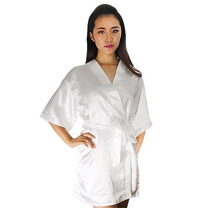 8a56b8d1ef66 Amazon.com  Bachelorette White Satin Rhinestone Bride Robe  Home   Kitchen