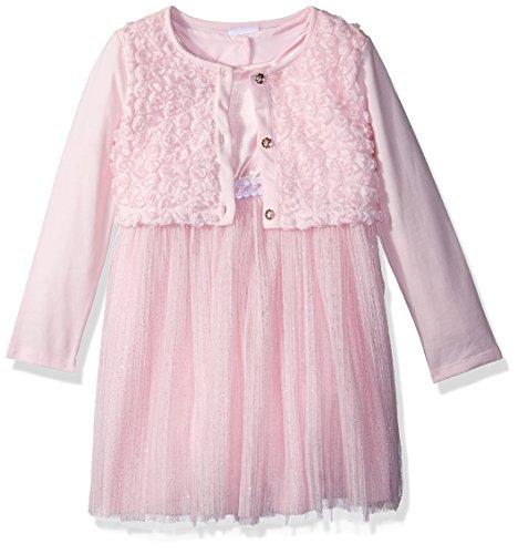 Nannette Toddler Girls' 3 Piece Shrug and Mesh Dress Set, Pink, (Mesh Dress Set)