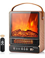 """Tangkula 14.5"""" Mini Portable Electric Fireplace, 750W/1500W Tabletop Stove Heater with 3D Flame & Remote Control, Electric Fireplace Heater with Overheat Protection,12H Timer (Maple)"""