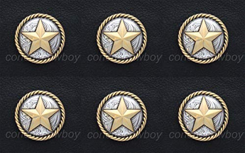 Conchos for Clothes Set of 6 Horse TACK Antique Gold Round Rope Edge Star Conchos 1