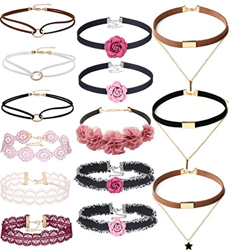 Tpocean 14 PCS Double Layer Lace Velvet Choker Set Necklace Leather Pink Floral Choker for Women Girls Teens Party Choker Jewelry Set Gifts
