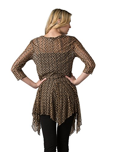 Kaktus Women's 3/4 Sleeve Asymmetrical Diamond Print Plus Size Tunic, Black/Gold, 3X