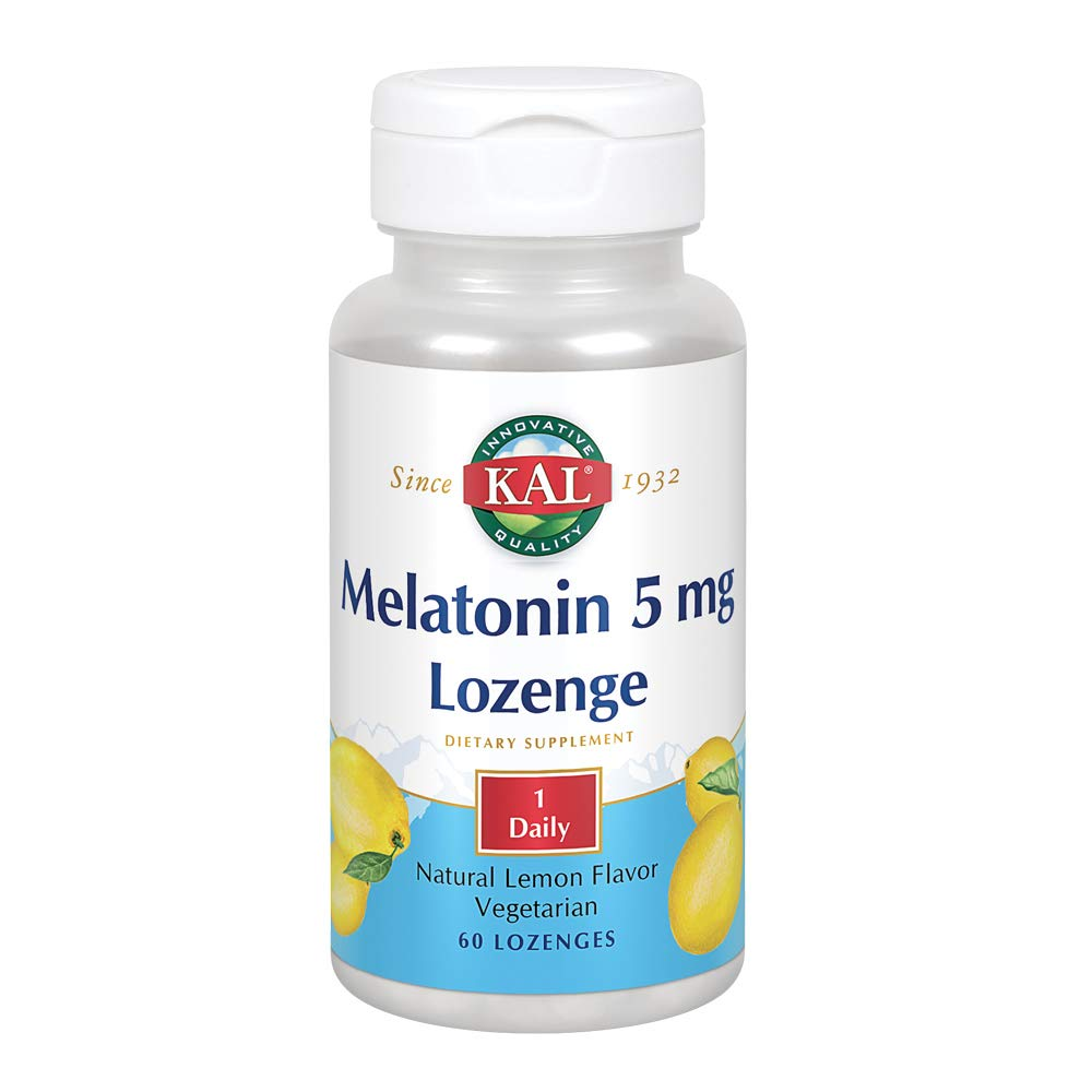 KAL Melatonin Lozenge 5mg | Natural Lemon Flavor | 100% Pure with Vitamin B6 |