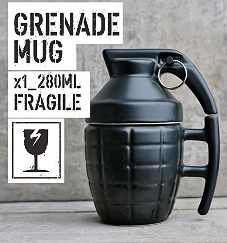 Live Direct Novelty Grenade Shape Design Cup Coffee Mug Ceramic Cup tea with lid Christmas Gift (Black)