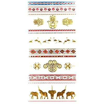 Oottati Metallic Assorted Temporary Tattoo Gold Silver Elephant Hand Pattern (2 Sheets)