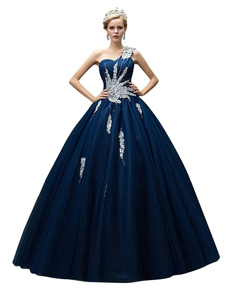 Dark bluee BeautyEmily One Shoulder Ball Gown Beads Sweet Quinceanera Dresses