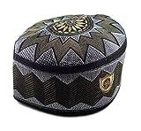 Alwee ALW006 Muslim Prayer Headware Kufi Hat Men Islam Skull Cap Ramadan Eid Gift (23 Inch (58.5 cm.), Brown)