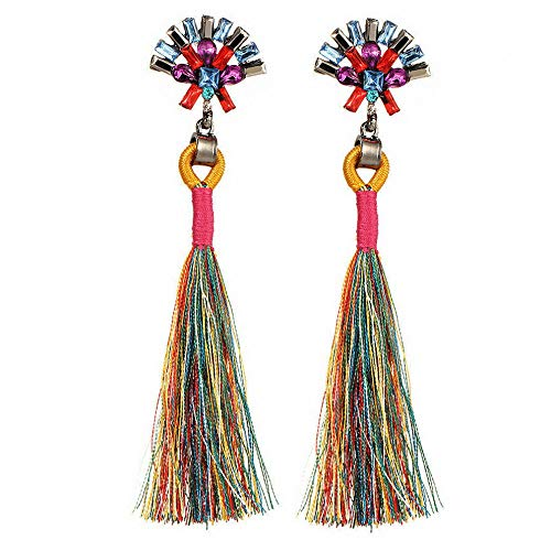Wausa Women Bohemian Boho Rhinestone Long Tassel Fringe Dangle Drop Earrings Fashion | Model ERRNGS - 7307 |