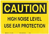 "Brady 84796 7"" Height, 10"" Width, B-302 High Performance Polyester, Black On Yellow Color Ear Protection Sign, Legend ""Caution, High Noise Level Use Ear Protection"""