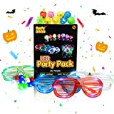 PartySticks Glow Party Favors for Kids and Adults - 50pk of Party Supplies w/ 32 Light Up Finger Lights, 13 Glow Jelly Rings, 5 LED Light Up Glasses