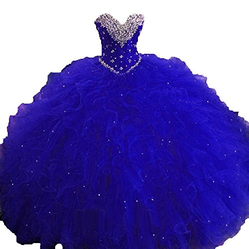 Lianai Women's Beaded Crystal Sweetheart Quinceanera Dress Ruffles Tulle Ball Gown Prom Dress Style1-royal Blue,2