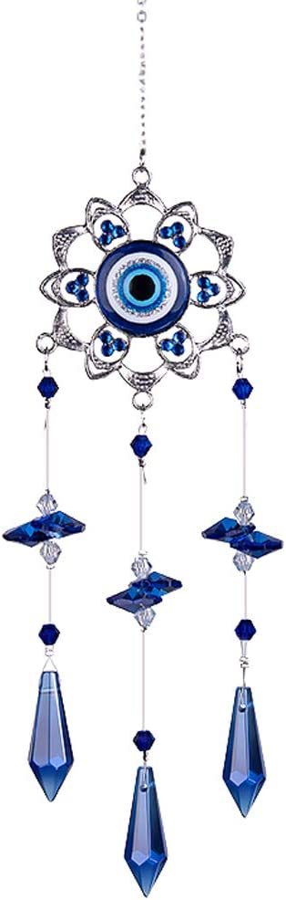 LONGSHENG - SINCE 2001 - Crystal Flower Suncatcher with Feng Shui Turkish Blue Evil Eye Protection and Good Luck Charm Gift