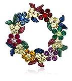 Akianna Gold-Tone Swarovski Element Crystals Wreath Pin Brooch Christmas Multicolor