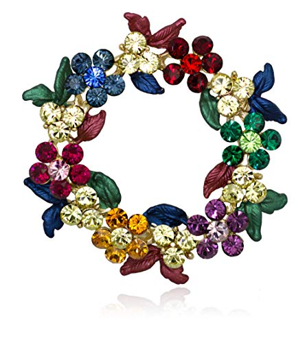 Akianna Gold-Tone Swarovski Element Crystals Wreath Pin Brooch Christmas Multicolor