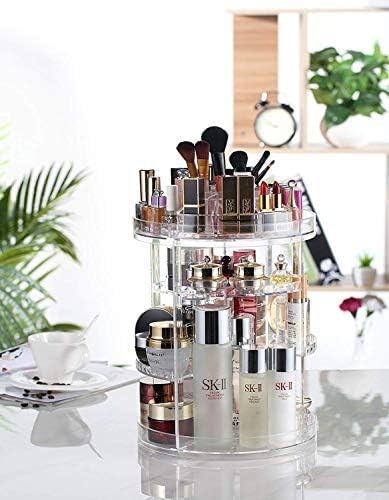 回転可能な化粧品ストレージボックスアジャスタブル化粧品収納ディスプレイケース8つの層で大容量のジュエリーメイクブラシ口紅に適合し、より多くの
