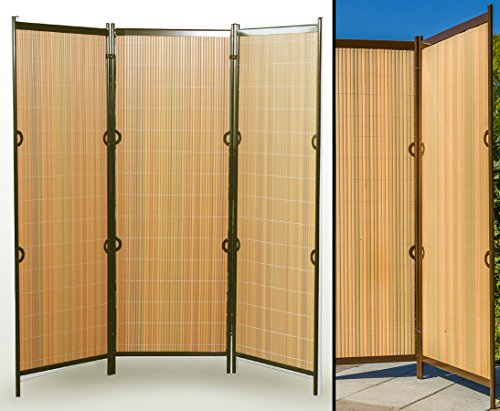 Room Divider Rügen 160 X 195 Cm Teak Brown 3 Piece Portable